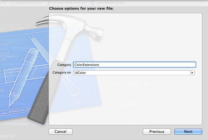 Xcode New Category File Options