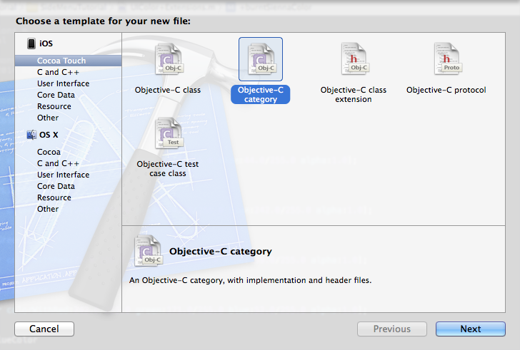 Xcode New File Template Selection - Objective-C Category