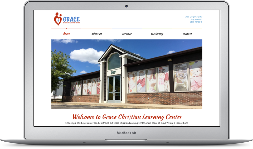 Grace Christian Learning Center Website on Apple MacBook Air
