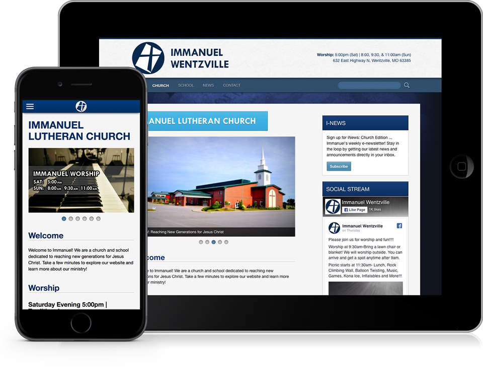 Immanuel Lutheran Church and School Website on Apple iPad and iPhone