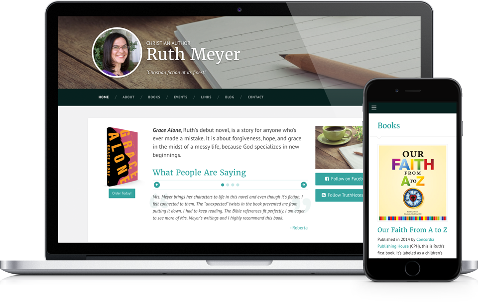 Ruth Meyer Books Website on Apple MacBook Pro and iPhone