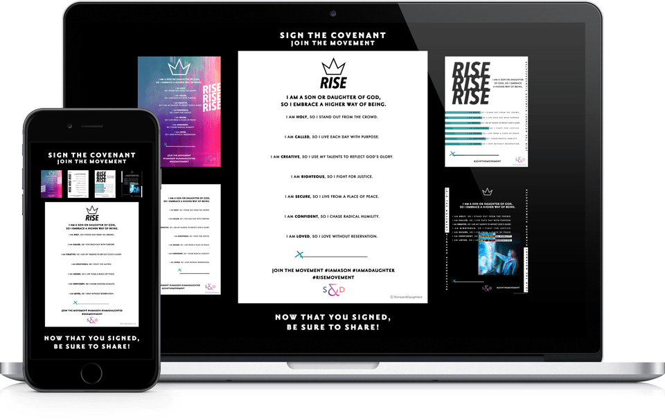 Sons & Daughters RISE Covenant Website on Apple MacBook Pro and iPhone